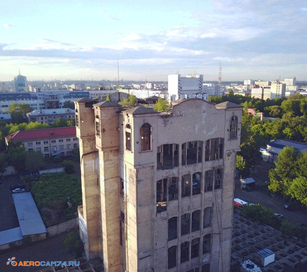 Челябинский элеватор. Аэросъемка с воздуха в Челябинске